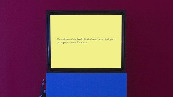 Tony Cokes, installation view, On Non-Visibility, Greene Naftali, New York, 2018. Courtesy the artist, Greene Naftali, New York, Hannah Hoffman, Los Angeles, and Electronic Arts Intermix, New York.
