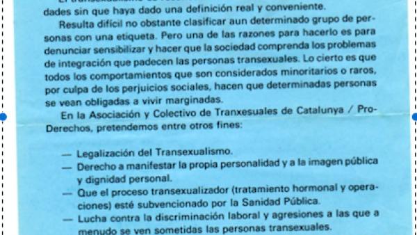 Colectivo de transexuales de Cataluña proderechos. Centro de Documentación de Movimientos Sociales Mercè Grenzner – Can Batlló, Barcelona, 1990