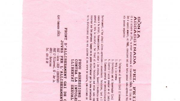 Sònia assassinada pel Feixisme. FAGC – Front d'alliberament gai de Catalunya. JAG - Joves per l'Alliberament Gai. Centro de Documentación de Movimientos Sociales Mercè Grenzner – Can Batlló, Barcelona, 1991