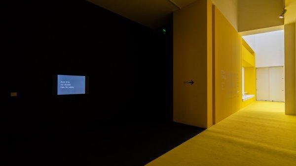 "Vistas de ""Tony Cokes. Música, texto, política"". Foto: Miquel Coll"