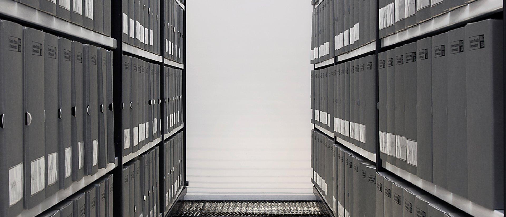 Dos estanterías con carpetas grises