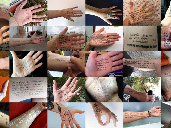 Ràdio Web MACBA, mosaico de citas sobre manos