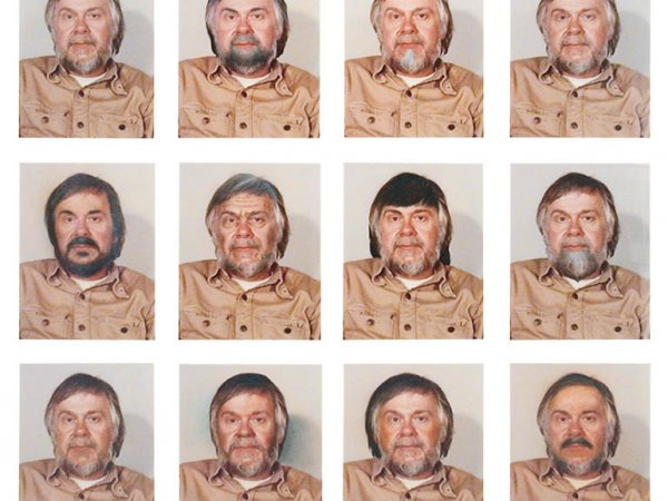 """John Baldessari """"Portrait: (self) # as Control + 11 Alterations by Retouching and Airbrushing"""", 1974. 12 color photographs with airbrushing on museum board. 356 x 273 mm."""