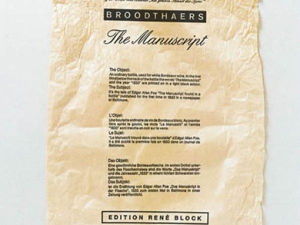"""Detail Marcel Broodthaers """"Le Manuscrit trouvé dans une Bouteille"""", 1974"""
