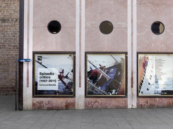 "Allan Sekula's ""Shipwreck and Workers (version 3 for Kassel)"" view exhibited in Plaça dels Àngels, 2012"