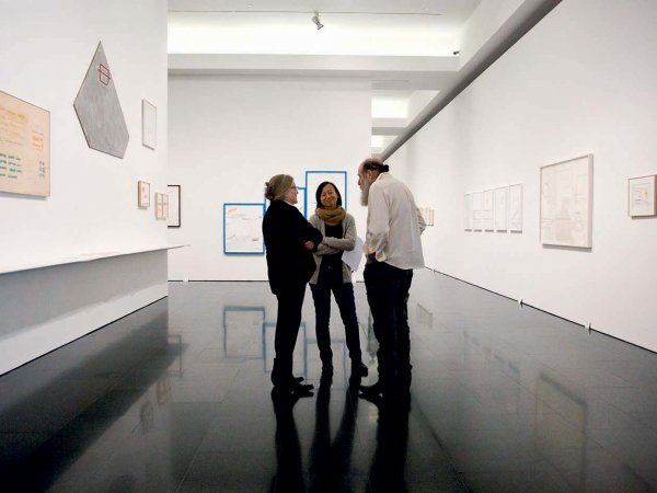 "Lawrence Weiner's ""Written on the Wind"" exhibition view, 2013"