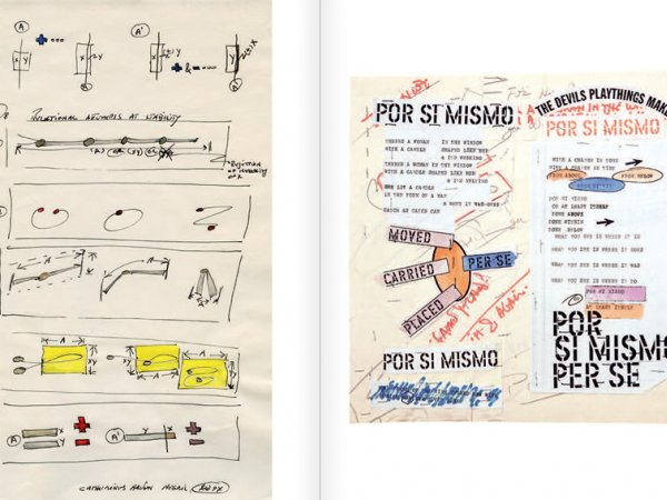 """Selecció del catàleg """"WRITTEN ON THE WIND. Lawrence Weiner Drawings"""", pàgines 28 i 29"""
