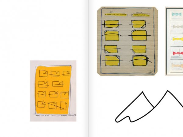 """Selecció del catàleg """"WRITTEN ON THE WIND. Lawrence Weiner Drawings"""", pàgines 40 i 41"""