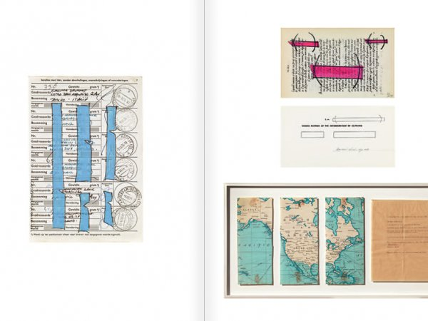 """Selecció del catàleg """"WRITTEN ON THE WIND. Lawrence Weiner Drawings"""", pàgines 46 i 47"""