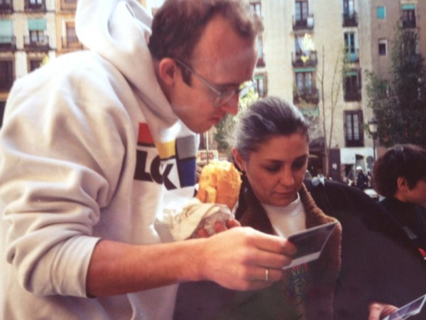 Keith Haring with Montse Guillén. 27 February 1989, Barcelona