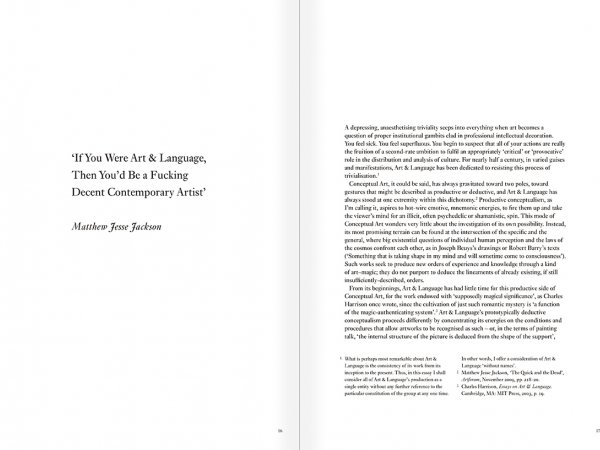 Selection from the catalogue 'Art & Language. Uncompleted', pages 16 and 17