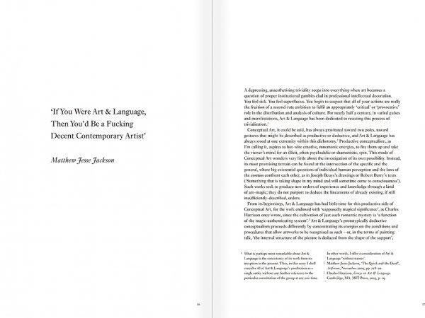 """Selección del catálogo """"Art & Language. Incompleto"""", páginas 16 y 17"""