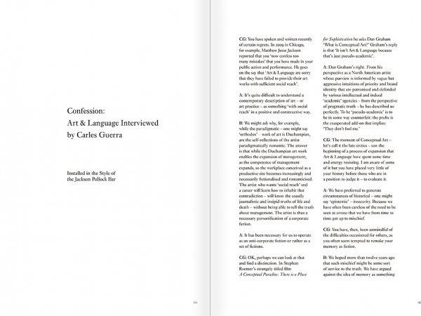 """Selección del catálogo """"Art & Language. Incompleto"""", páginas 184 y 185"""