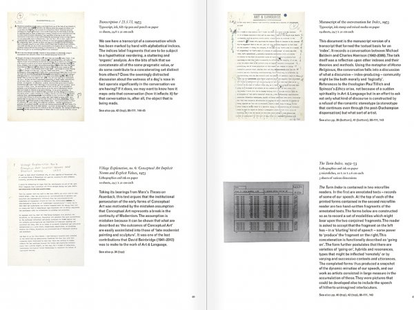 Selection from the catalogue 'Art & Language. Uncompleted', pages  40 and 41