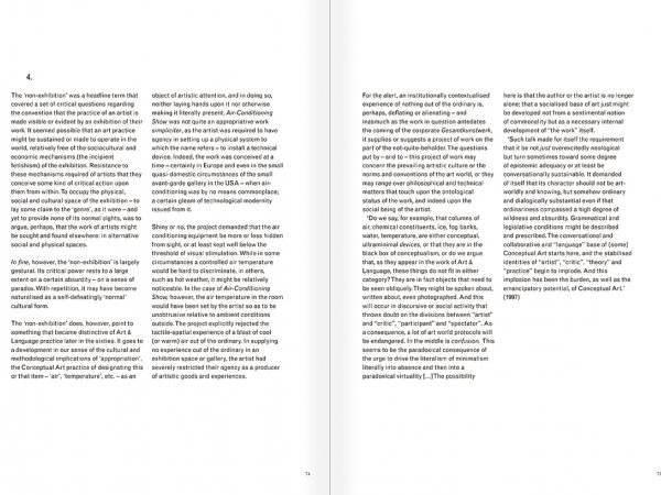 Selection from the catalogue 'Art & Language. Uncompleted', pages  74 and 75