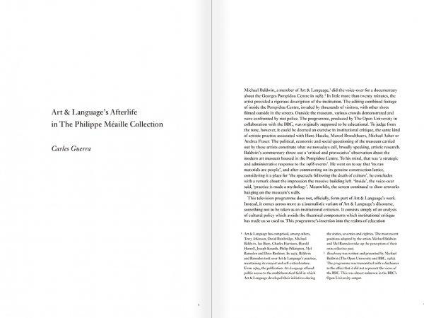 """Selección del catálogo """"Art & Language. Incompleto"""", páginas 8 y 9"""
