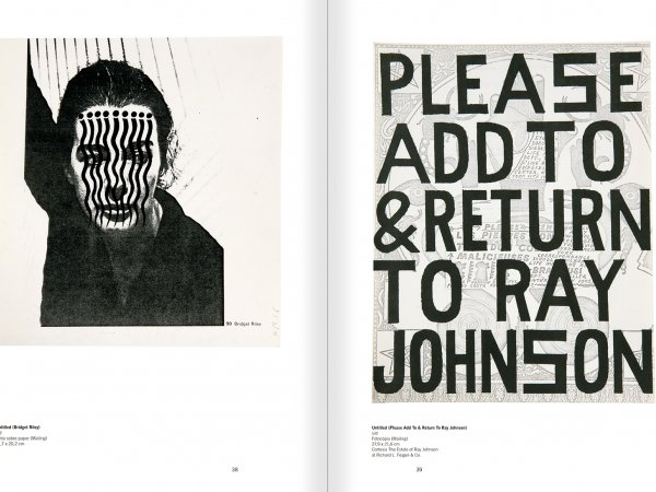 """Selecció del catàleg """"Ray Johnson. Please Add To & Return"""" pàgines 38 i 39"""