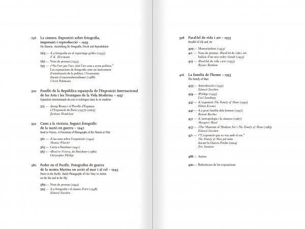 """Selección del catálogo """"Espacios fotográficos públicos. Exposiciones de propaganda, de Pressa a The Family of Man, 1928-1955"""" páginas 6 y 7"""