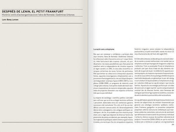 """Selecció del catàleg """"Nomeda & Gediminas Urbonas. Dispositius per a l'acció"""" pàgines 104 i 105"""