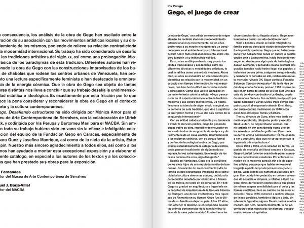 """Selecció del catàleg """"Gego. Desafiando estructuras"""" pàgines 10 i 11"""
