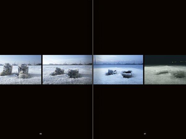 """Selecció del catàleg """"La danza fenicia de la arena / Phoenician Sand Dance. Sigalit Landau"""", pàgines 66 i 67"""