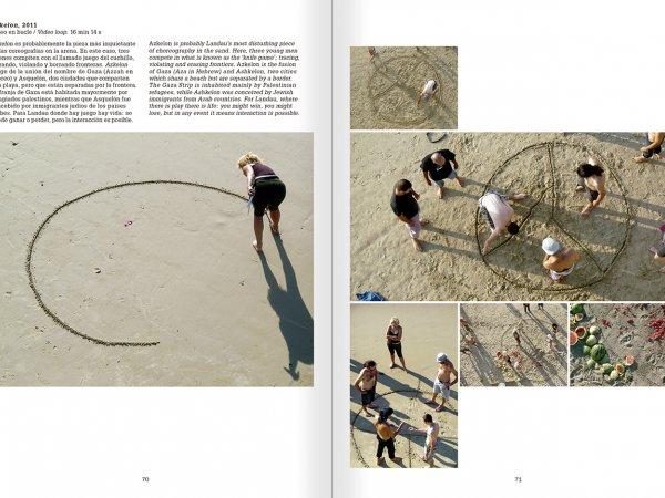 """Selecció del catàleg """"La danza fenicia de la arena / Phoenician Sand Dance. Sigalit Landau"""", pàgines 70 i 71"""