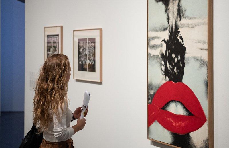 Chica observando una obra del museo