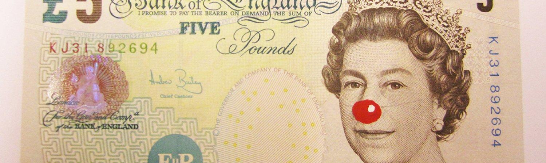 Hans-Peter Feldmann '5 Pound Bill with Red Nose', 2012. Cortesia de ProjecteSD, Barcelona