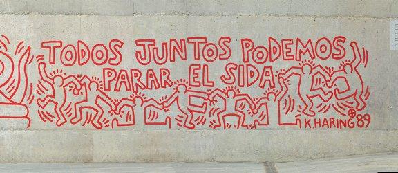 """Keith Haring """"Todos juntos podemos cambiar el sida"""", 1989"""