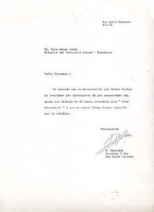 Carta : Barcelona, a Hans-Peter Hebel, Barcelona, 1973  juny 4