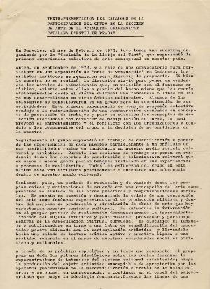 """Texto presentación del catálogo de la participación del grupo en la Seccion de Arte de la """"Cinquena Universitat Catalana d'Estiu de Prada"""""""