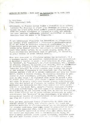 """Article de Tàpies-paru dans """"La Vanguardia"""" du 14 Mars 1973, Barcelona"""
