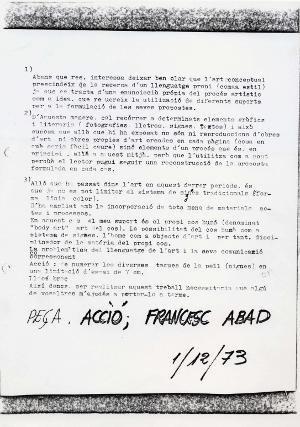 Acció; Francesc Abad, 1/12/73