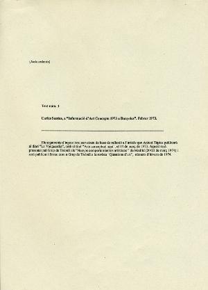 """Text núm. 1 Carles Santos a """"Informació d'Art Concepte 1973 a Banyoles"""". Febrer 1973"""