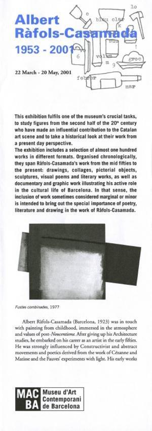 Albert Ràfols-Casamada. 1953-2001 [Full de mà]