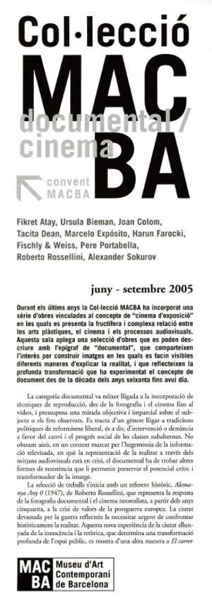 Col·lecció MACBA. Documental/cinema [Full de mà]