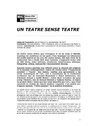 Un teatre sense teatre [Dossier de premsa]