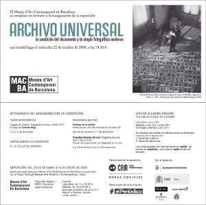 Archivo universal. La condición del documento y la utopía fotográfica moderna [Invitació]