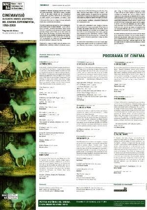 Cinemavisió. Algunes obres mestres del cinema experimental, 1956-2000 [Full de mà]