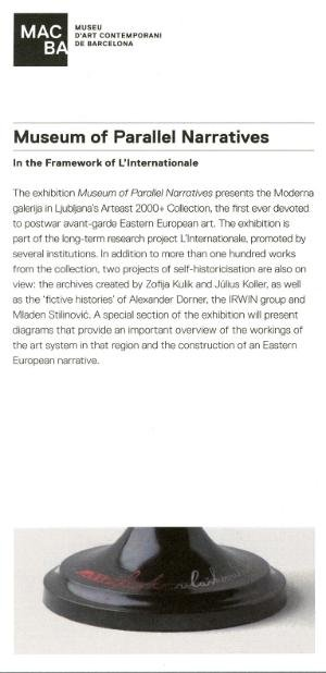 Museum of Parallel Narratives. In the framework of L'Internationale [Invitació]