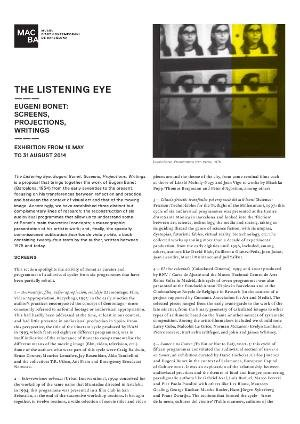 The Listening Eye. Eugeni Bonet: Screens, Projections, Writings [Full de mà]