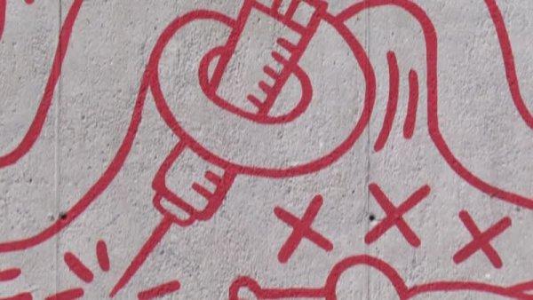 Keith Haring. La recuperació d'un mural emblemàtic [Enregistrament audiovisual procés de muntatge obra de Col·lecció]