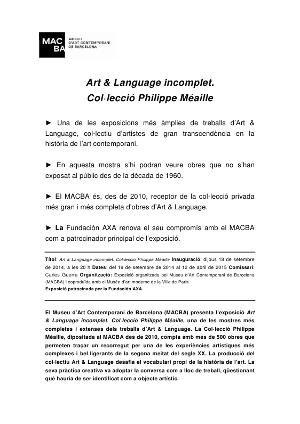 Art & Language Incomplet. Col·lecció Philippe Méaille [Dossier de premsa]
