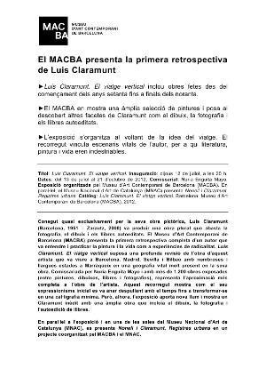 Luis Claramunt. El viatge vertical [Dossier de premsa]