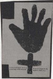 [Una il·lustració d'una mà i una creu grega i una fotografia d'uns prismàtics per a un poema visual]