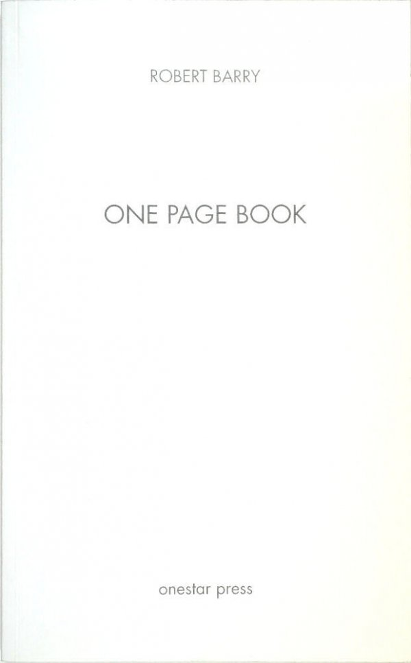 One page book / Robert Barry