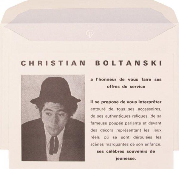 Christian Boltanski a l'honneur de vous faire ses offres de service