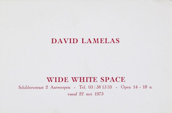 "David Lamelas : ""To pour milk into a glass"" : Wide White Space, vanaf 22 mei 1973"