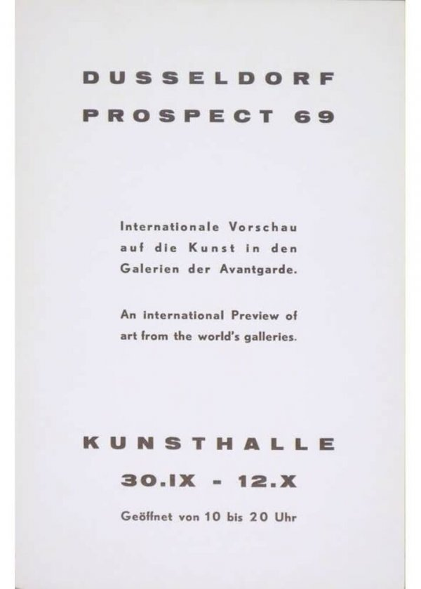 Dusseldorf Prospect 69 : internationale Vorschau auf die Kunst in den Galerien der Avantgarde : [White Space, presents at Prospect 69 Joseph Beuys, David Lamelas]