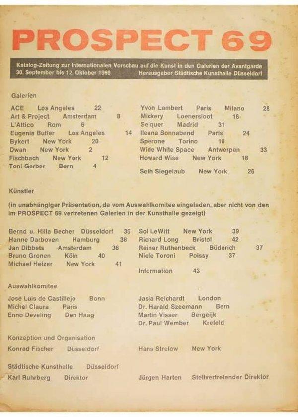 Prospect 69 : Katalog-Zeitung zur Internationalen Vorschau auf die Kunst in den Galerien der Avantgarde 30. September bis 12 Oktober 1969